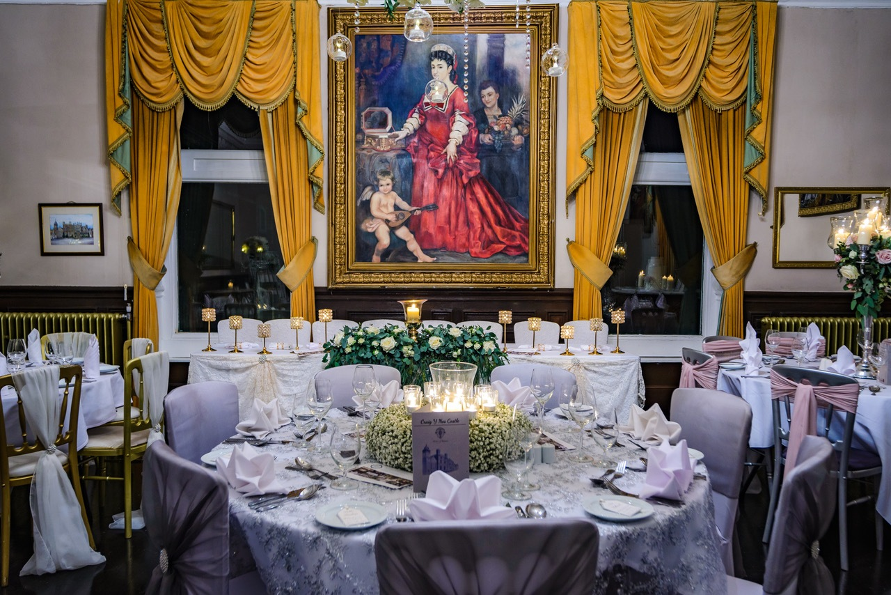 Evening Wedding Buffet and Party in Music Room - Weddings in