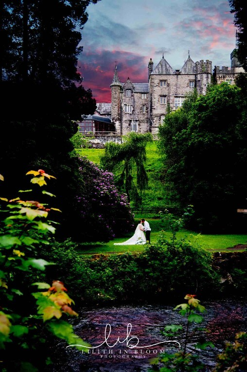 Bridal Couple in lower gardens at Craig y Nos Castle wedding 2017