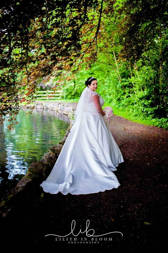 Bride by Lake in the Country Park - lake available for photos