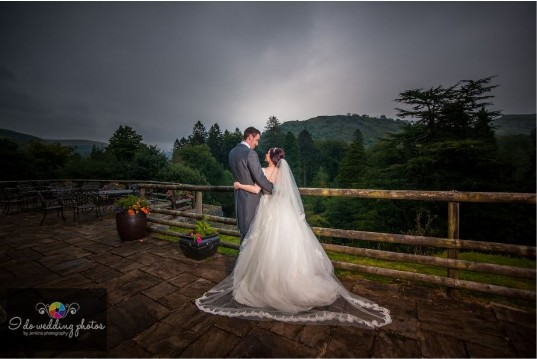 Wedding Couple on Conservatory Terrace at Craig y Nos Castle