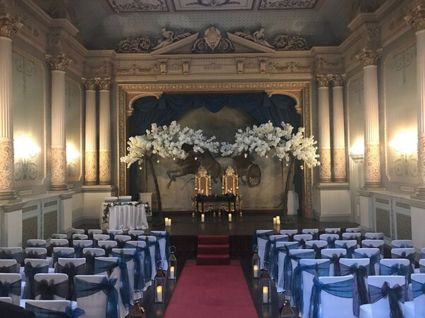 White trees stage at Craig y Nos Castle Ceremony room