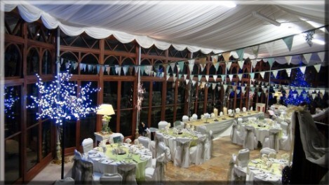 Wedding Banquet Craig y Nos Castle white and yellow table decor bunting