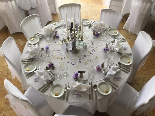 Wedding Table dressed in white Craig y Nos Castle