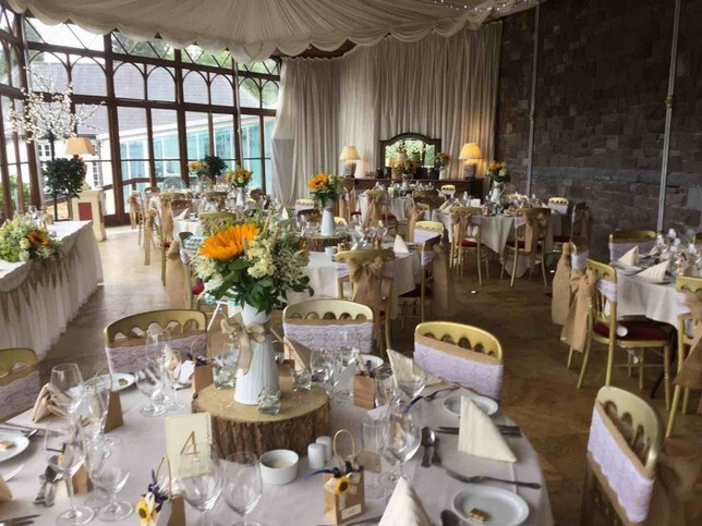 Craig ty Nos Castle Wedding Breakfast Sunflower theme