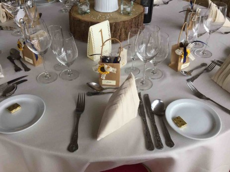 Table setting with log centrepieces South Wales Wedding Venue Craig y Nos Castle