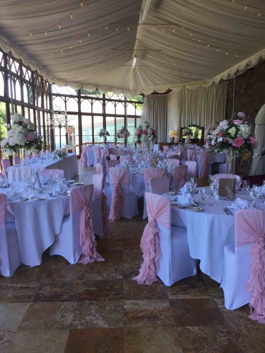 Craig y Nos Castle Wedding Venue in South Wales in pink