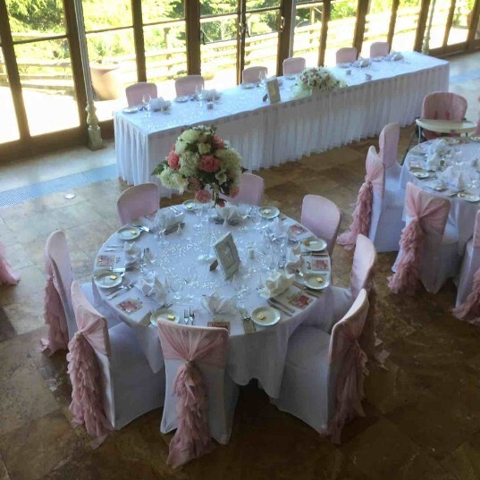 South Wales Wedding Venue Craig y Nos Castle pink Sashes Conservatory