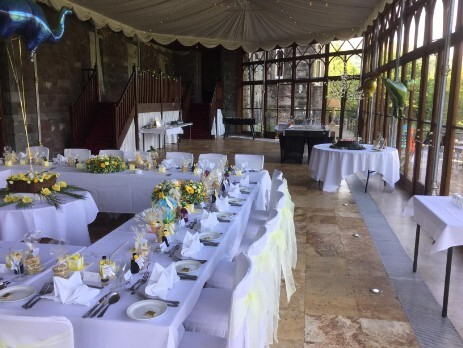 the square table arrangement South Wales Wedding Venue Craig y Nos Castle