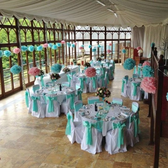 Craig y Nos Castle Wedding Reception turquise Sashes Conservatory