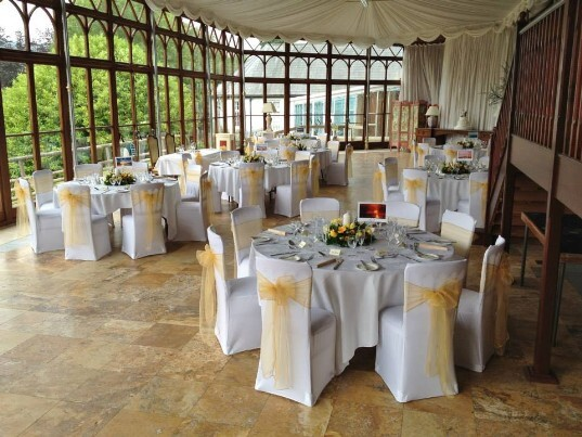 South Wales Wedding Venue Craig y Nos Castle yellow Sashes Conservatory