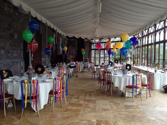 MultiColoured rainbow wedding theme Craig y Nos Caslte