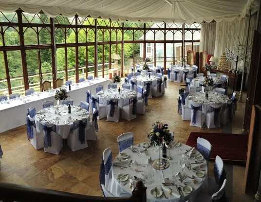 Craig y Nos Castle Wedding Reception pale purple Sashes Conservatory