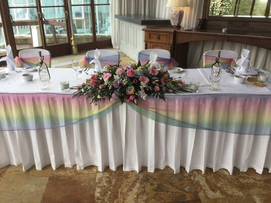 Craig y Nos Castle Conservatory Multi-coloured Rainbow sashes
