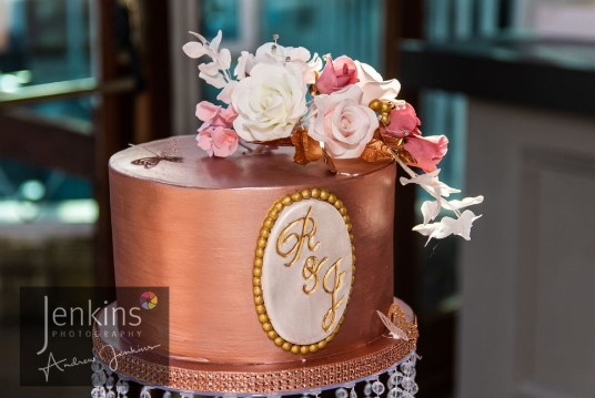 Craig y Nos Castle South Wales Wedding Reception Copper Wedding Cake