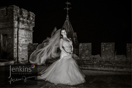 Bride on roof at Craig y Nos Castle Wedding Venue South Wales
