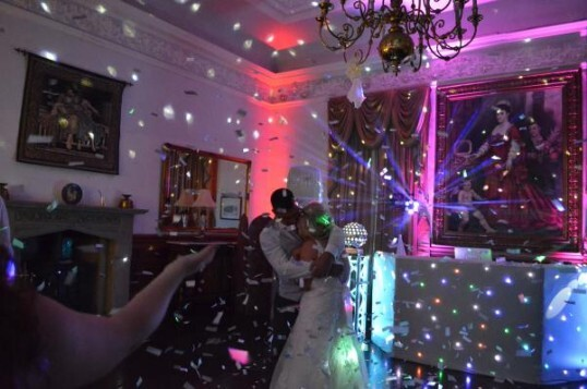 Pure Weddings DJ Evening Entertainment Package confetti, couple on dance floor