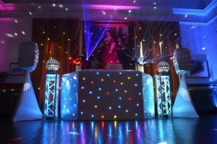 Pure Weddings DJ Evening Entertainment Package white speakers and DJ booth