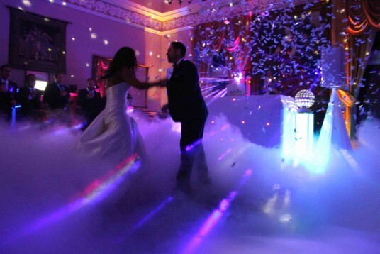Pure Weddings DJ at Craig y Nos Castle Music Room, , with the first dance on clouds