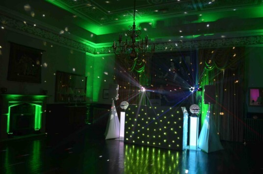 Pure Wedding DJ Dancing on Clouds at Craig y Nos Castle,, with our Green Uplighting