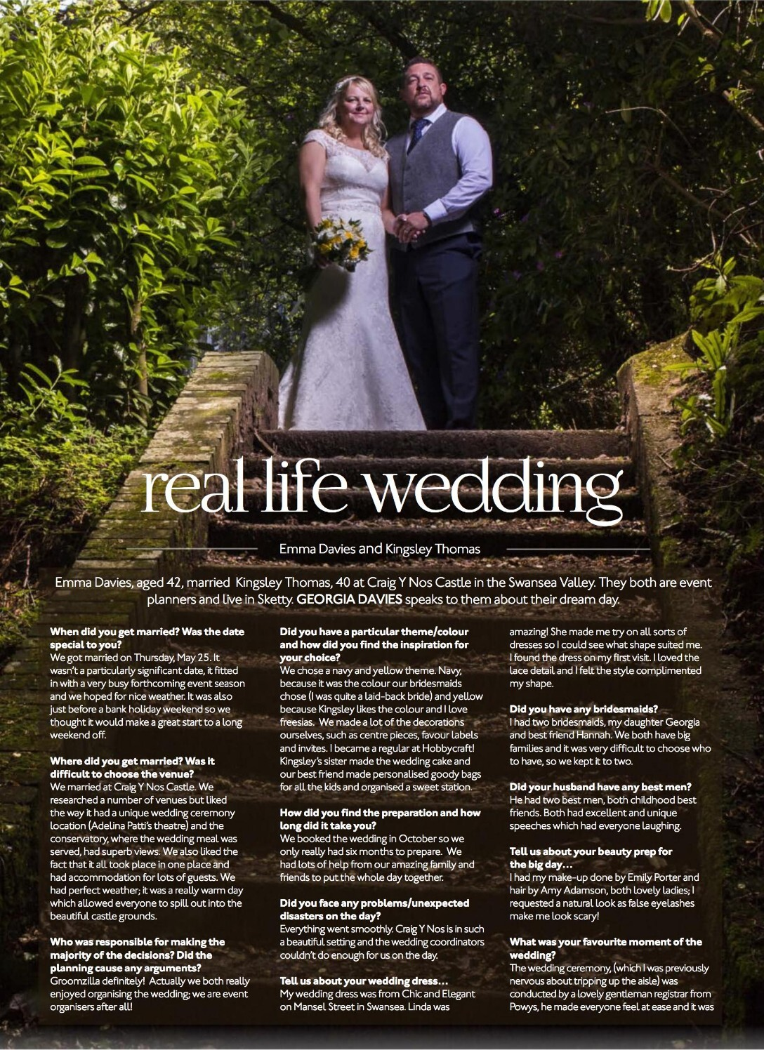Swansea Life Magazine reivew of a Wedding at Craig y Nos Castle