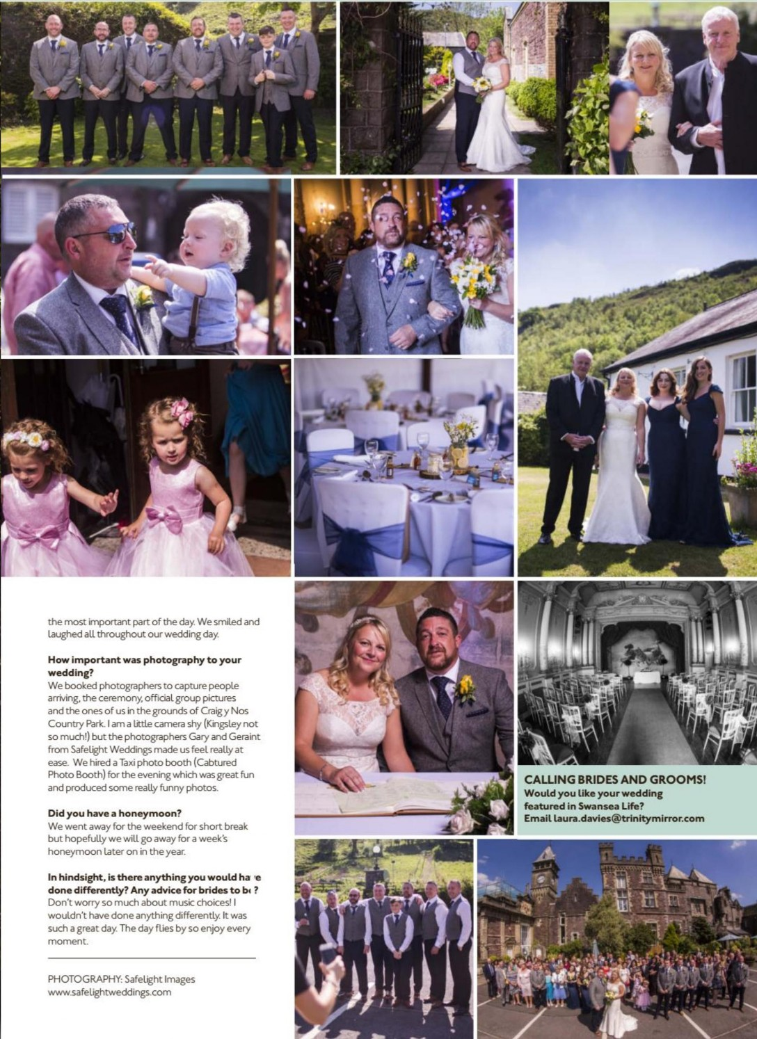 Swansea Life Magazine review of a wedding held at Craig y Nos Castle