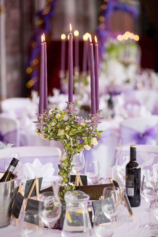 Candelabra purple Craig y Nos Castle Weddings
