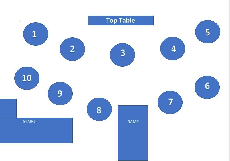 Sample Table Plan for a large wedding in the Conservatory