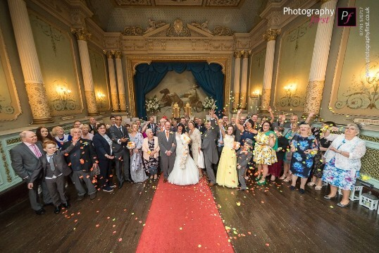 Wedding Guests in the Opera House ceremony room at Craig y Nos Castle