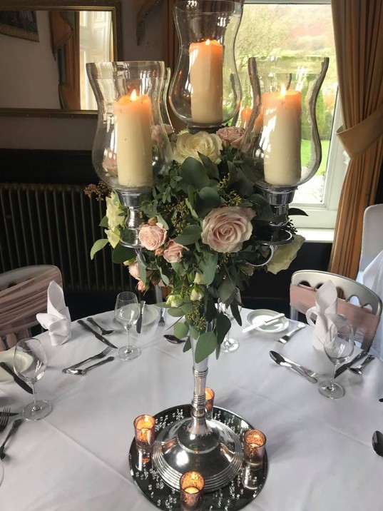 South Wales Wedding Venue Craig y Nos Castle Table Centrepiece