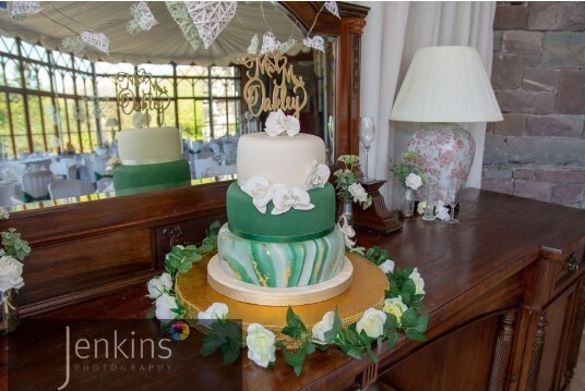Craig y Nos Castle Conservatory Green and White Wedding Cake