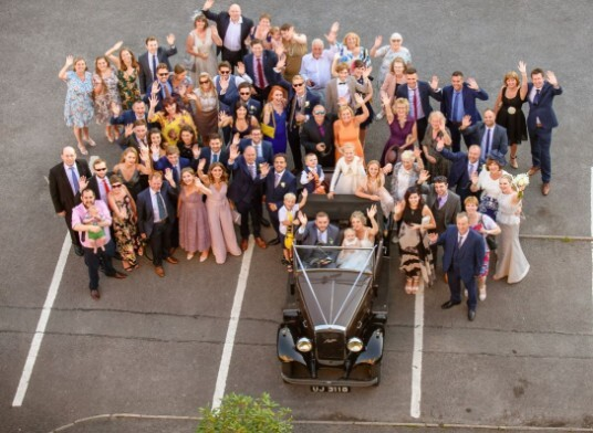 Craig y Nos Castle Wedding Venue Bridal Party in Courtyard