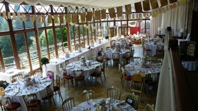 Craig y Nos Castle Conservatory laid up for a wedding breakfast