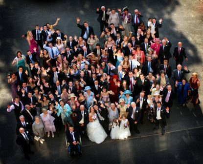 By Ann Clark Photography - Wedding Guests in Courtyard at Craig y Nos Castle