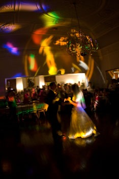 Wedding Disco in Music Room at Craig y Nos Castle Wedding Venue, photo by Ann Clark Photography