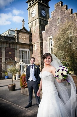 Ann Lewis Wedding Photography bride outside theatre at Craig y Nos Castle South Wale
