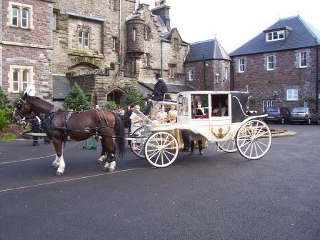 Horse and Carriage in Craig y Nos Castle courtyard
