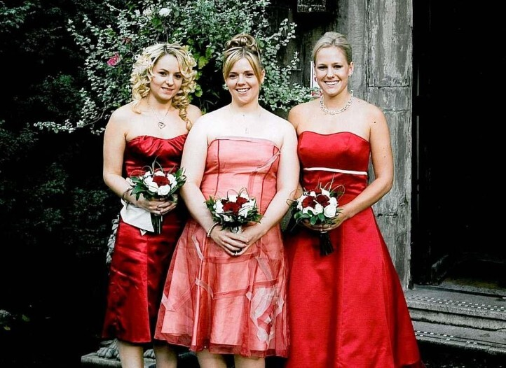 Wedding Planner Book, Bridesmaids in pink and red at Craig y Nos Castle South Wales