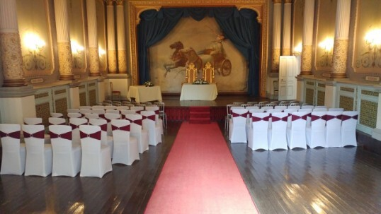 chaircovers in ceremony room theatre at Craig y Nos Castle