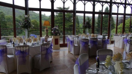 Craig y Nos Castle wedding venue near Aberdare Conservatory with views over Brecon Beacons