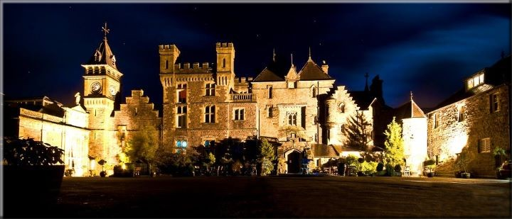 Craig y Nos Castle Wedding Venue in South Wales - Castle Floodlit at Night - Photo by Shane Lewis Photography