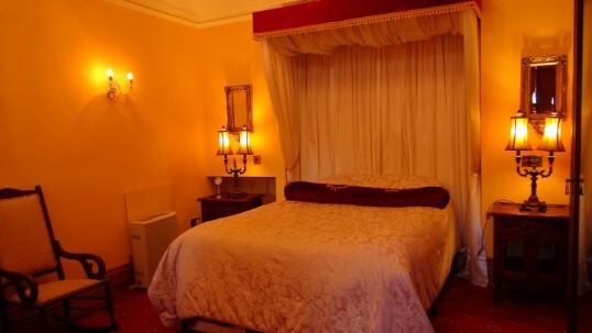 Half Tester Bed Bridal Suite At Craig Y Nos Castle In Wales Lit Up