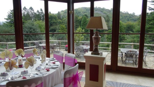 Craig y Nos Castle Wedding Venue Swansea views from the Conservatory tall windows over mountains