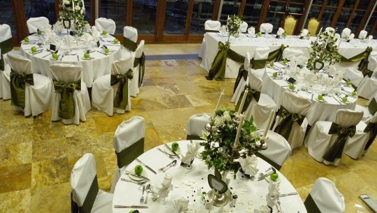 Craig Y Nos Castle Wedding Venue Swansea Conservatory Breakfast Green And White Apple Theme