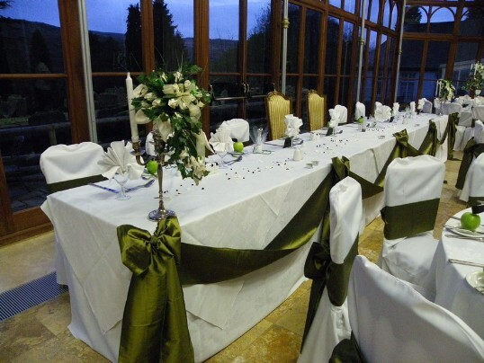 Craig y Nos Castle Wedding Venue Swansea Conservatory Wedding Breakfast green and white apple theme