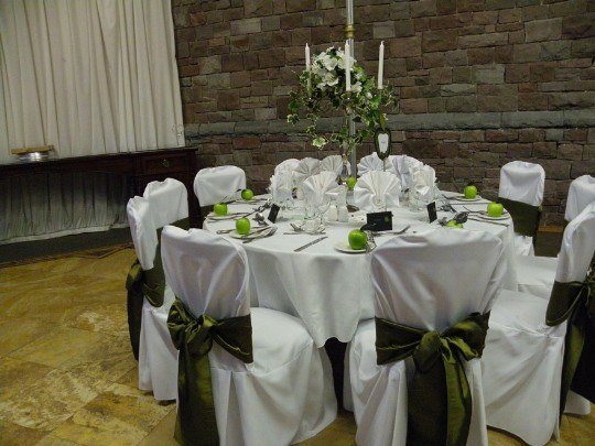Craig y Nos Castle Wedding Venue Swansea Conservatory Wedding Breakfast apple green wedding theme