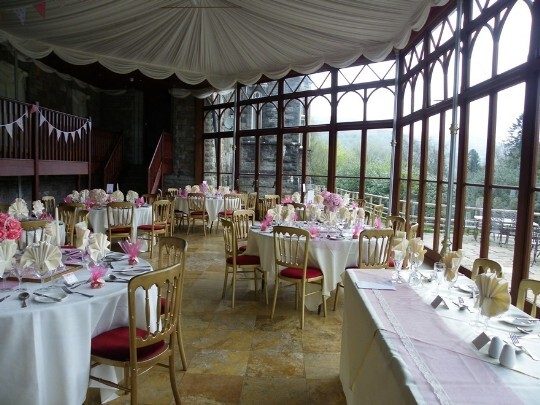 Craig y Nos Castle Wedding Venue Swansea Conservatory Wedding Breakfast, pink and white theme