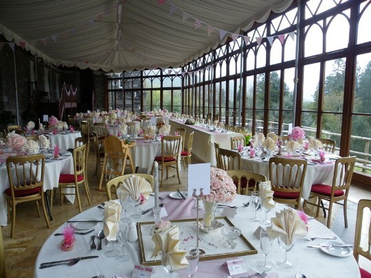 Craig y Nos Castle Wedding Venue Swansea Conservatory Wedding Breakfast pink flowers theme