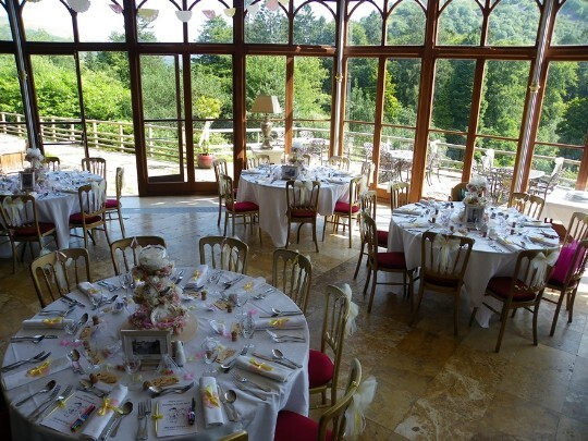 Craig y Nos Castle Wedding Venue Conservatory windows overlooking the greenery of the country park