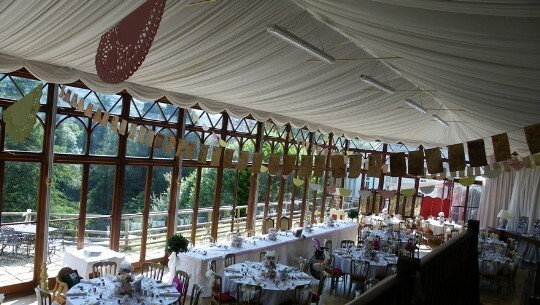 Craig y Nos Castle Wedding Venue Swansea showing the Conservatory with paper bunting