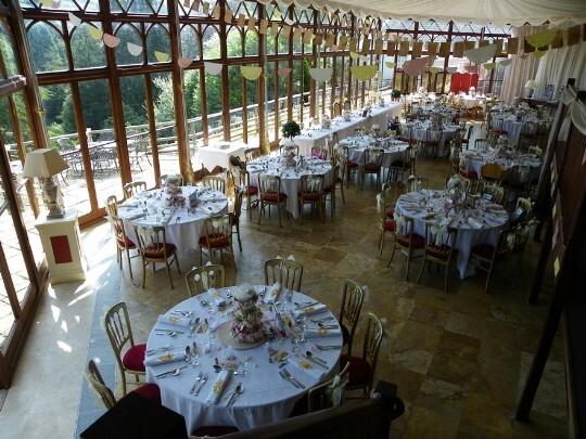 Craig y Nos Castle Wedding Venue the Conservatory with places for 120 on 10-12 round tables
